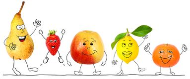 Healthy organic fruits, cartoon characters stock images