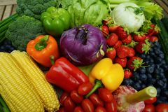 Healthy organic fruits and vegetables royalty free stock photography