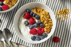 Healthy Organic Greek Yogurt with Granola and Berries Royalty Free Stock Image
