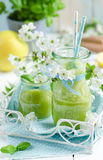 Healthy Organic Green Fruit smoothie Stock Photos