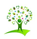 Healthy organic human being with hearts and hands, creative icon. Healthy organic human being. Hearts and hands creative icon., vector logo Royalty Free Stock Photos