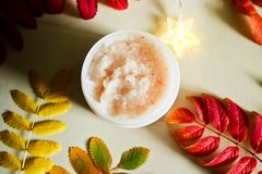 Body scrub in a beautiful composition royalty free stock image