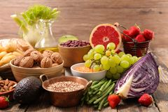 Healthy organic products. Assorted of healthy organic products Stock Photo