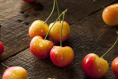 Healthy Organic Rainier Cherries. In a Bowl Stock Photo