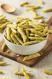 Healthy Organic Snap Pea Chips Stock Photography