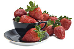 Healthy Organic Strawberries Against Blue Sky Stock Image