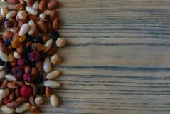 A healthy organic trail mix of almonds, raisins, cranberries, and other various nutrition royalty free stock photo