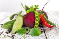 Healthy organic vegetable on wooden table Royalty Free Stock Photo