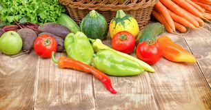 Healthy organic vegetable in your healthy eating - diet. On table close-up Royalty Free Stock Images