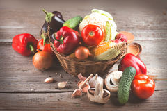 Healthy organic vegetables in basket royalty free stock photography