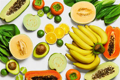 Healthy Organic Vegetables, Fruits Background. Vegetarian Nutrit Stock Image
