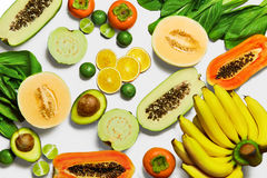 Healthy Organic Vegetables, Fruits Background. Vegetarian Nutrit Stock Images
