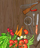 Healthy organic vegetables and kitchen utensil on a dark  wooden table backdrop Stock Photography