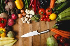 Healthy Organic Vegetables. On wood background Stock Photo