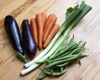 Healthy Organic Vegetables. On a Wooden Background royalty free stock photos