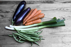 Healthy Organic Vegetables. On a Wooden Background royalty free stock images