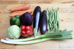 Healthy Organic Vegetables. On a Wooden Background stock image