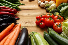 Healthy Organic Vegetables on a Wooden Background.  Stock Images