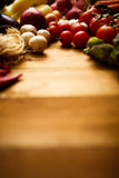 Healthy Organic Vegetables on a Wooden Background.  Stock Photo