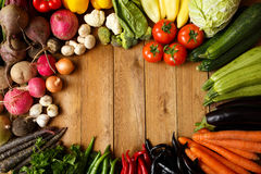 Healthy Organic Vegetables on a Wooden Background.  Royalty Free Stock Images