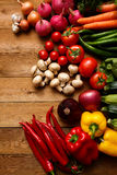 Healthy Organic Vegetables on a Wooden Background.  Royalty Free Stock Photography