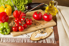 Healthy Organic Vegetables on a Wooden Background. Art Border Design Royalty Free Stock Photos