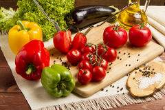 Healthy Organic Vegetables on a Wooden Background. Art Border Design Stock Image