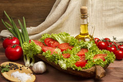Healthy Organic Vegetables on a Wooden Background. Art Border Design Royalty Free Stock Image