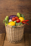 Healthy Organic Vegetables on a Wooden Background Royalty Free Stock Image