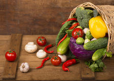 Healthy Organic Vegetables on a Wooden Background Royalty Free Stock Photography