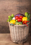 Healthy Organic Vegetables on a Wooden Background Royalty Free Stock Photos
