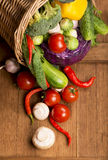 Healthy Organic Vegetables on a Wooden Background Stock Photography