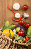 Healthy Organic Vegetables on a Wooden Background Royalty Free Stock Photo