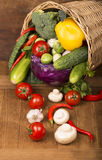 Healthy Organic Vegetables on a Wooden Background Stock Image