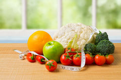 Healthy organic vegetables on wooden table Royalty Free Stock Photos