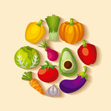 Healthy organic vegetarian foods related icons image Royalty Free Stock Photos