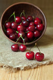 Healthy organic vegetarian super food cherries in Royalty Free Stock Images