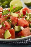 Healthy Organic Watermelon Salad. With Mint, Feta, and Cucumber Stock Photo