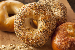 Healthy Organic Whole Grain Bagel Stock Photography