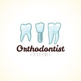 Healthy orthodontist teeth. Vector logo Stock Images