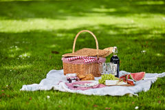 Healthy outdoor summer or spring picnic Stock Photos