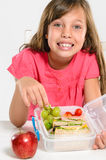 Healthy packed lunch box for elementary school girl Stock Photography