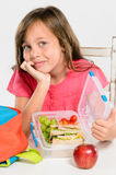 Healthy packed lunch box for elementary school girl Royalty Free Stock Photography