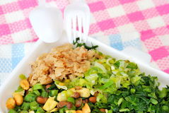 Healthy packed lunch with healthy ingredients. Such as green vegetables and peanuts. Suitable for concepts such as diet and nutrition, healthy lifestyle, and Royalty Free Stock Image