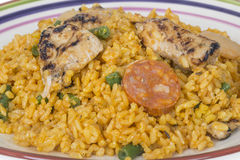 Healthy Paella with Chicken and Chorizo Royalty Free Stock Photos