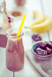 Healthy Paleo Dairy-Free Chocolate-Banana Smoothie with Figs, All Natural Ingredients Stock Photography