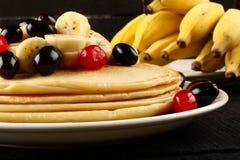 Healthy pancake with honey and banana slices Stock Photo