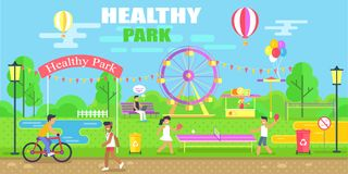Healthy Park Happy Poster Vector Illustration. Healthy park, happy poster, biker and kids, greenery and happiness, ferris wheel, and balloons, table tennis, and Royalty Free Stock Image