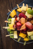 Healthy party snacks, fruit kebabs Royalty Free Stock Photo