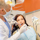 Healthy patient at dentist office Stock Photos